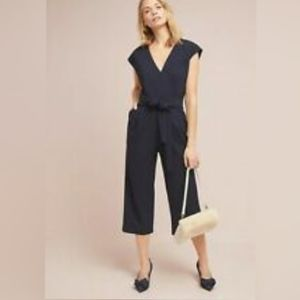 Anthropologie Ettawa Cropped Jumsuit Black Medium